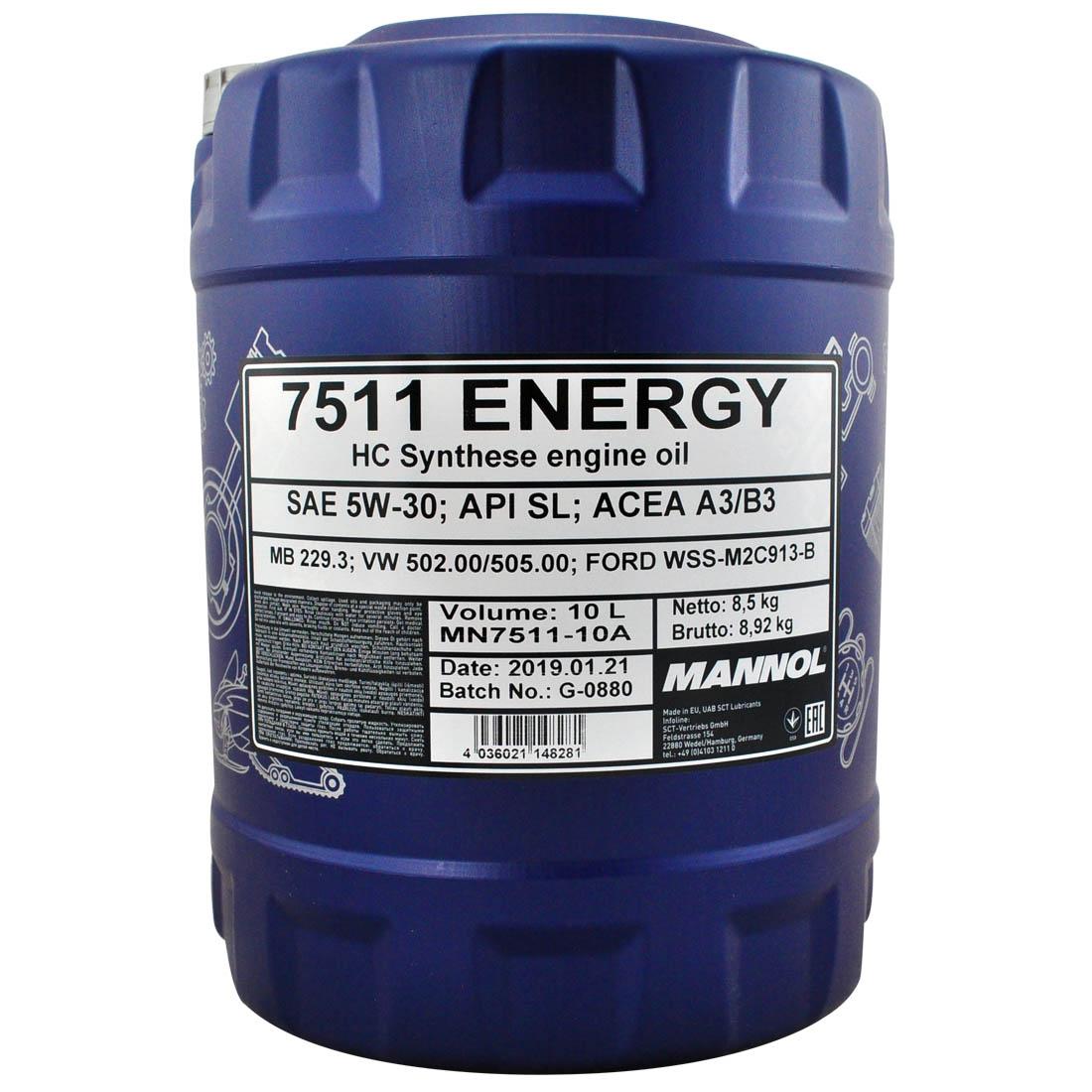 10 1x10 liter mannol sae 5w 30 energy motor l vw. Black Bedroom Furniture Sets. Home Design Ideas